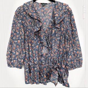 NWOT Ralph Lauren | LRL Jean Floral Blue Blouse